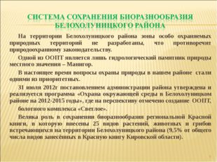 На территории Белохолуницкого района зоны особо охраняемых природных территор