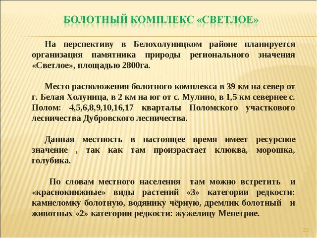 * На перспективу в Белохолуницком районе планируется организация памятника пр...