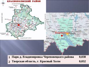 Владимировка 1Парк д. Владимировка Череповецкого района 0,038 2Тверская об