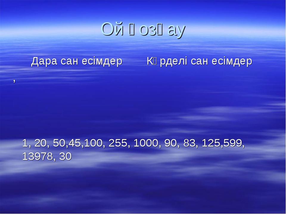Ой қозғау 1, 20, 50,45,100, 255, 1000, 90, 83, 125,599, 13978, 30 Дара сан ес...