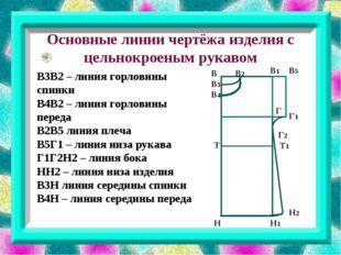 Основные линии чертёжа изделия с цельнокроеным рукавом В3В2 – линия горловин