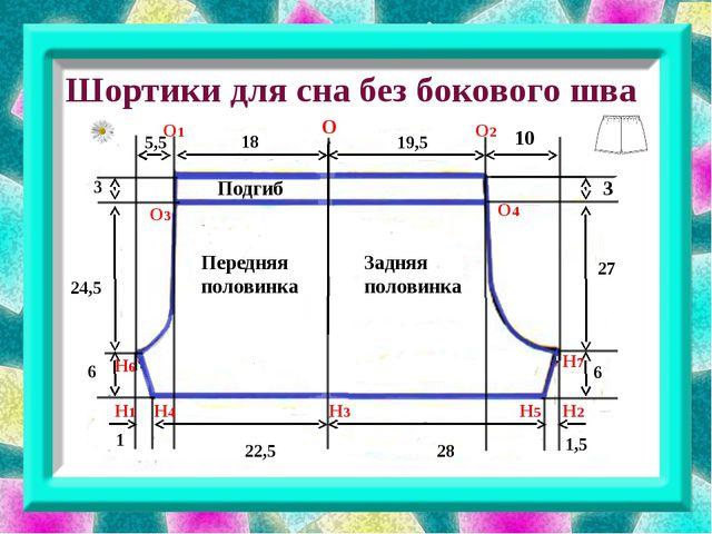 Шортики для сна без бокового шва 19,5 1 28 18 22,5 6 24,5 10 3 3 6 1,5 5,5 2...