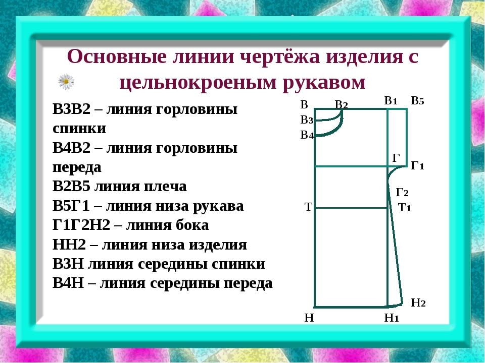 Основные линии чертёжа изделия с цельнокроеным рукавом В3В2 – линия горловин...