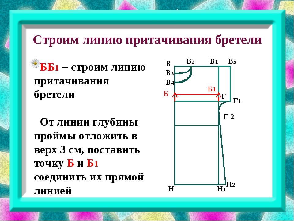 Строим линию притачивания бретели В В3 В1 В2 В4 В5 Г Г 2 Г1 Б Н Н1 Н2 ББ1 –...
