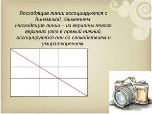 Восходящие линии ассоциируются с динамикой, движением. Нисходящие линии – из