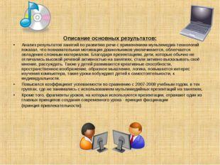 Описание основных результатов: Анализ результатов занятий по развитию речи с