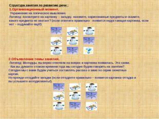 Структура занятия по развитию речи : 1.Организационный момент. Упражнение на