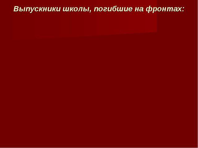 Выпускники школы, погибшие на фронтах: