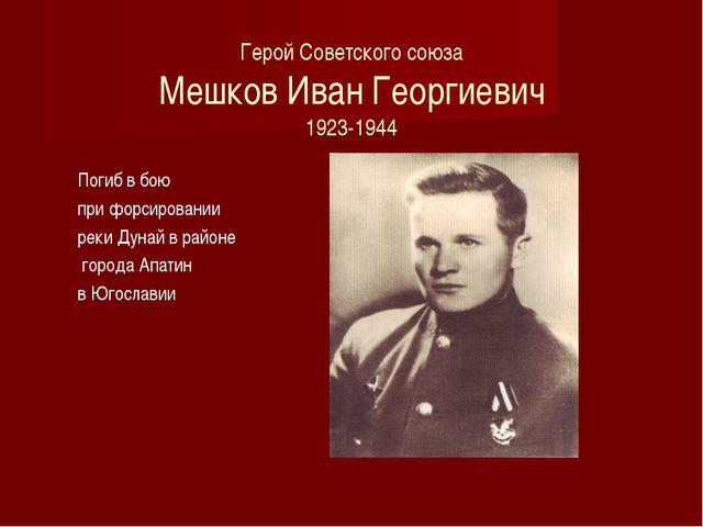 Герой Советского союза Мешков Иван Георгиевич 1923-1944 Погиб в бою при форс...