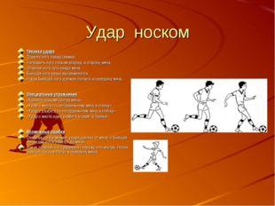 Удар носком Техника удара Отвести ногу назад (замах). Направить ногу носком в