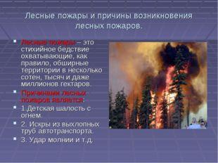 Лесные пожары и причины возникновения лесных пожаров. Лесные пожары – это сти