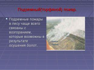 Подземный(торфяной) пожар. Подземные пожары в лесу чаще всего связаны с возго