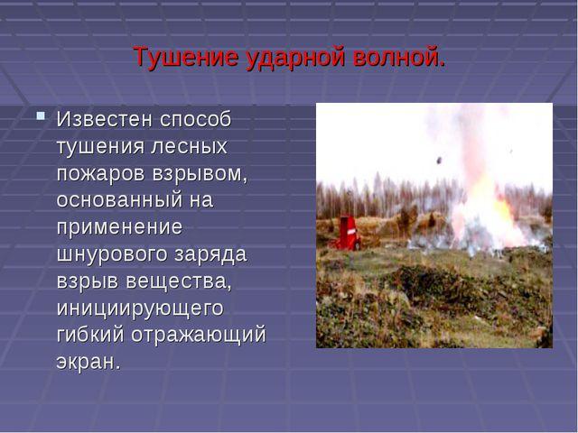 Тушение ударной волной. Известен способ тушения лесных пожаров взрывом, основ...
