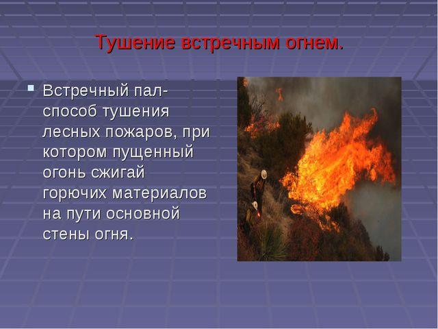 Тушение встречным огнем. Встречный пал- способ тушения лесных пожаров, при ко...