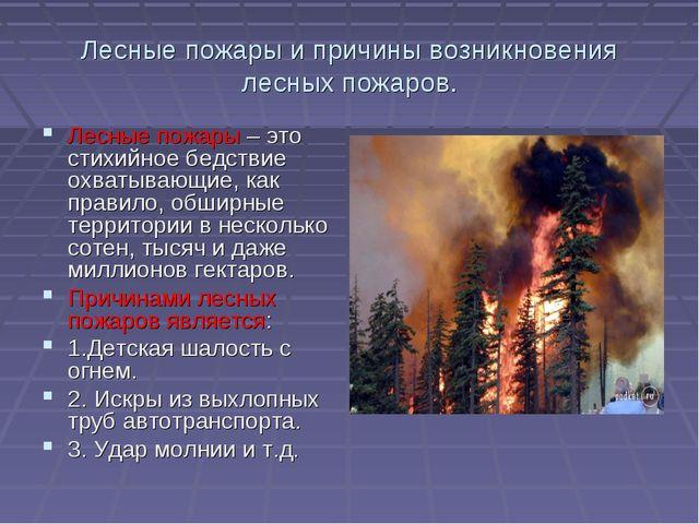 Лесные пожары и причины возникновения лесных пожаров. Лесные пожары – это сти...