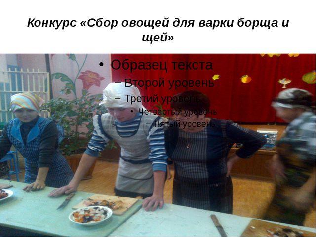 Конкурс «Сбор овощей для варки борща и щей»