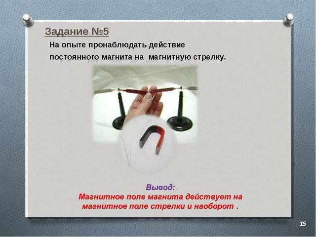 Задание №5 На опыте пронаблюдать действие постоянного магнита на магнитную ст...