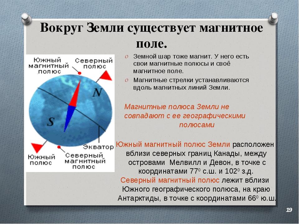 Вокруг Земли существует магнитное поле. Земной шар тоже магнит. У него есть с...