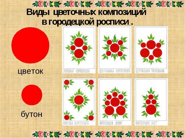 Виды цветочных композиций в городецкой росписи . цветок бутон
