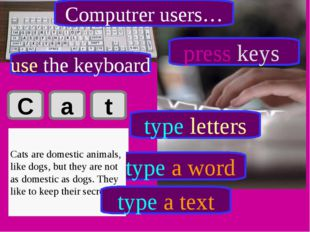 C a t Cat type letters type a word Cats are domestic animals, like dogs, but