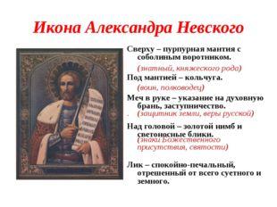 Икона Александра Невского Сверху – пурпурная мантия с соболиным воротником. П