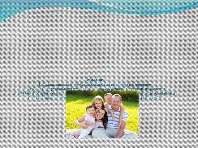 Условия: 1. Организация комплексного подхода к семейному воспитанию; 2. Изуче...