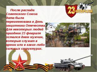 После распада Советского Союза дата была переименована в День защитника Отеч