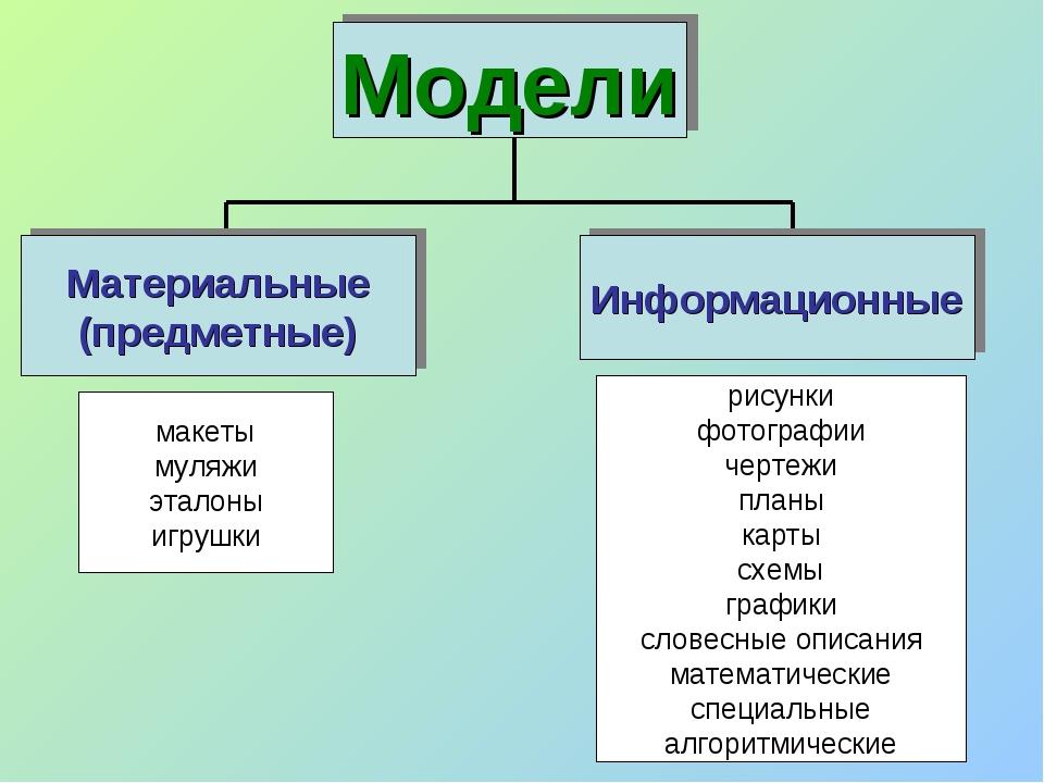 Модели Материальные (предметные) Информационные макеты муляжи эталоны игрушки...