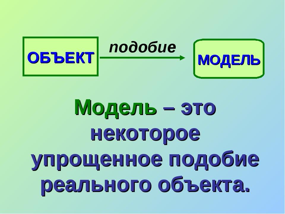 ОБЪЕКТ МОДЕЛЬ подобие Модель – это некоторое упрощенное подобие реального объ...