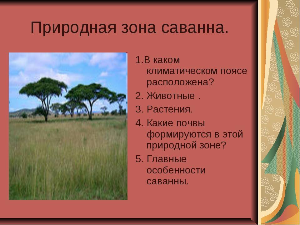 Природная зона саванна. 1.В каком климатическом поясе расположена? 2. Животны...