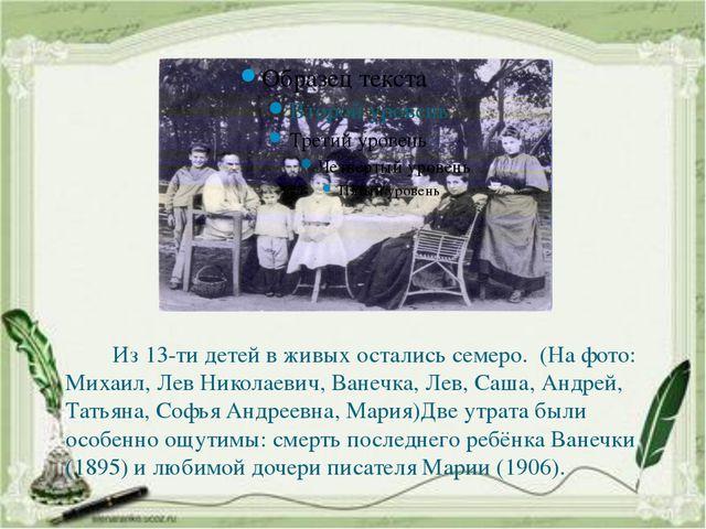 Из 13-ти детей в живых остались семеро. (На фото: Михаил, Лев Николаевич, Ва...
