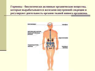 Гормоны - биологически активные органические вещества, которые вырабатываютс