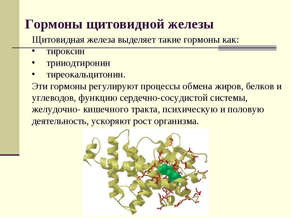 Гормоны щитовидной железы Щитовидная железа выделяет такие гормоны как: тирок...