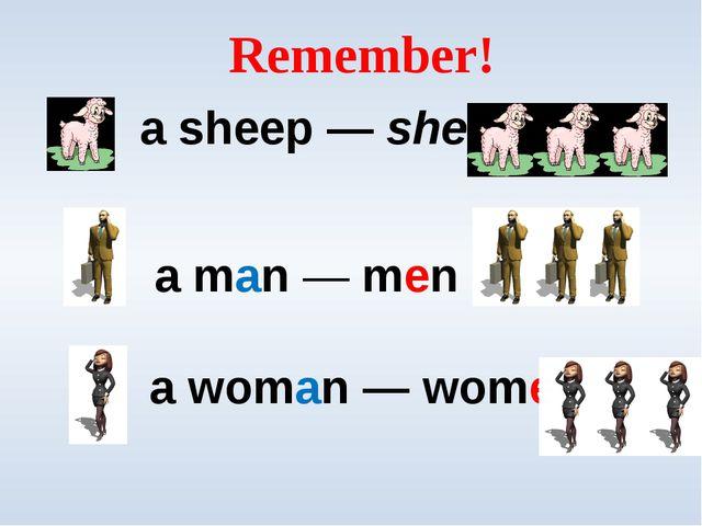 Remember! a sheep — sheep a man — men a woman — women