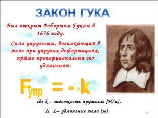 Был открыт Робертом Гуком в 1676 году. Сила упругости, возникающая в теле при