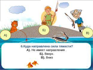 В) А) Б) 6.Куда направлена сила тяжести? А). Не имеет направления . Б). Вверх