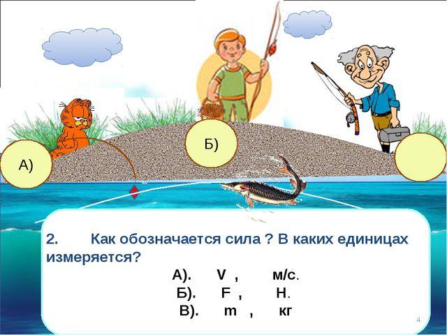 В) А) Б) 2.Как обозначается сила ? В каких единицах измеряется? А).V , м/с...