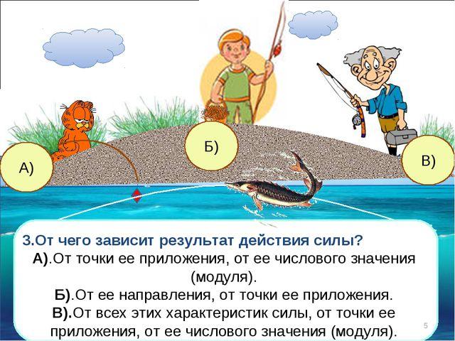 А) Б) В) 3.От чего зависит результат действия силы? А).От точки ее приложения...