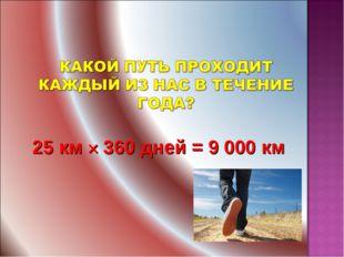 25 км × 360 дней = 9 000 км