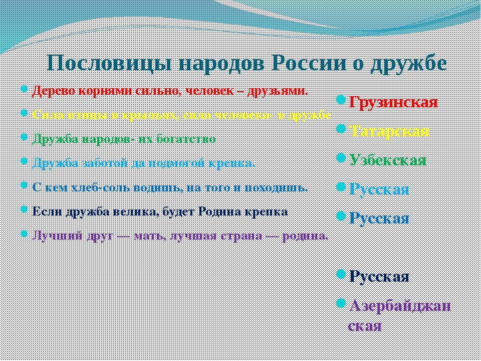 Пословицы народов России о дружбе Дерево корнями сильно, человек – друзьями....