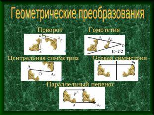 Поворот Параллельный перенос Центральная симметрия Осевая симметрия Гомотетия