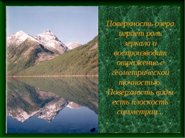 Поверхность озера играет роль зеркала и воспроизводит отражение с геометричес...