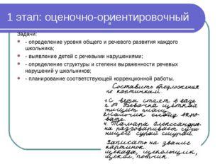 1 этап: оценочно-ориентировочный Задачи: - определение уровня общего и речево