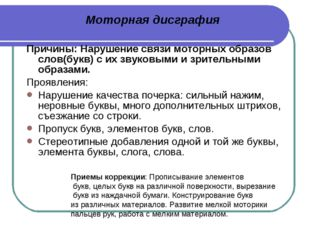 Причины: Нарушение связи моторных образов слов(букв) с их звуковыми и зритель