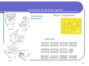 Развитие мелкой моторики Пальчиковая гимнастика Работа с трафаретами Штриховк