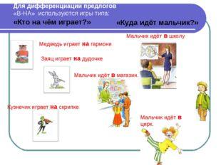 Для дифференциации предлогов «В-НА» используются игры типа: «Кто на чём играе