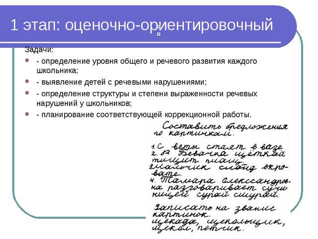 1 этап: оценочно-ориентировочный Задачи: - определение уровня общего и речево...