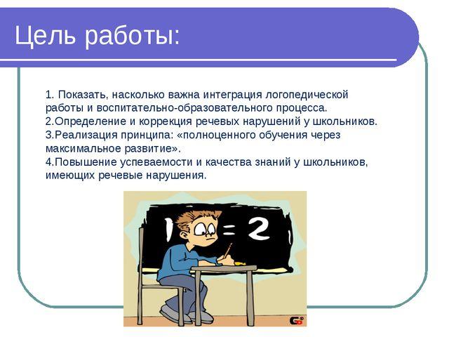 Цель работы: 1. Показать, насколько важна интеграция логопедической работы и...