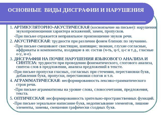 ОСНОВНЫЕ ВИДЫ ДИСГРАФИИ И НАРУШЕНИЯ 1. АРТИКУЛЯТОРНО-АКУСТИЧЕСКАЯ (косноязычи...