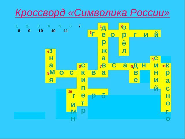 Кроссворд «Символика России» д е ж р а в а о р ё л г о г и й з н а м я с к и...